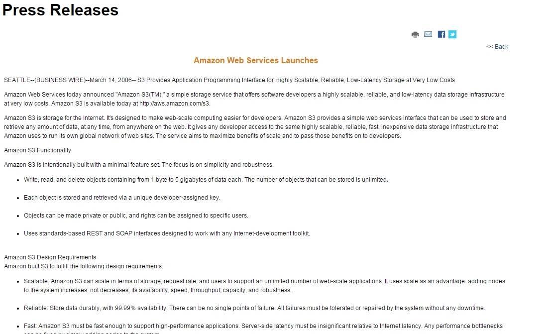 2006년 Amazon S3 출시 발표 보도자료 화면 캡쳐