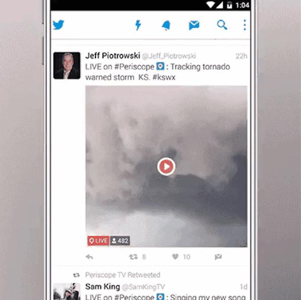 [참고 이미지] 트위터 타임라인 내 페리스코프 생방송 자동재생 화면 캡쳐